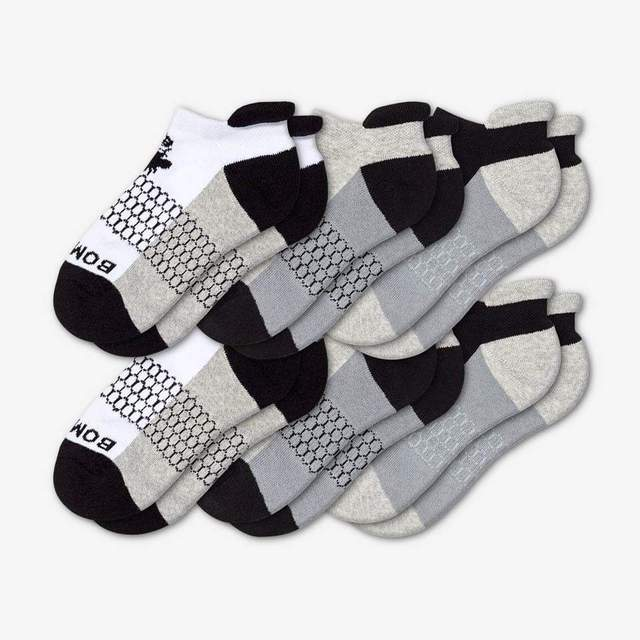 white-grey-black Youth Ankle 6-Pack