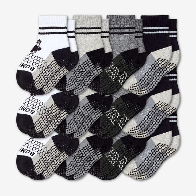 white-grey-charcoal-black Toddler Gripper Calf Sock 12-Pack