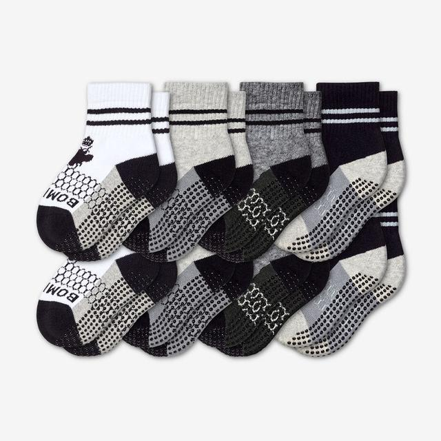 white-grey-charcoal-black Toddler Gripper Sock 8-Pack