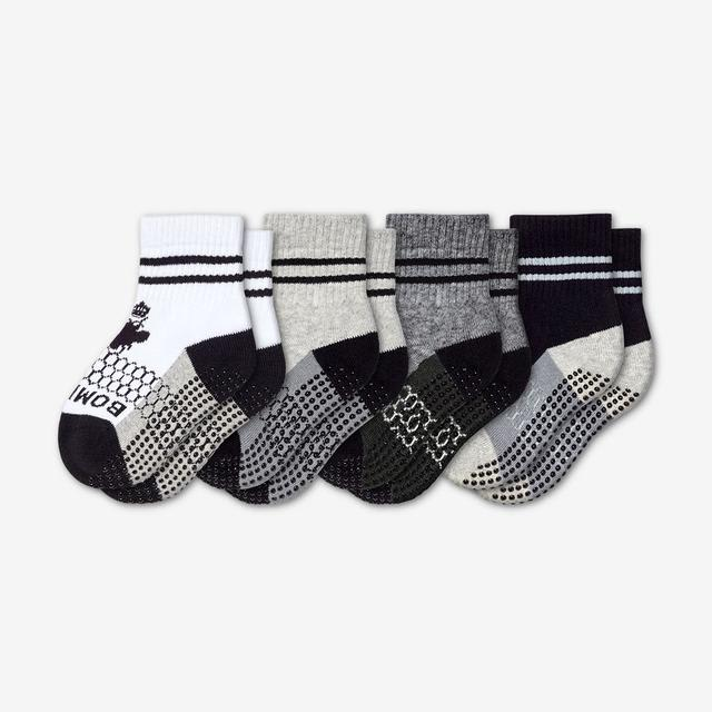 white-grey-charcoal-black Toddler Gripper Sock 4-Pack