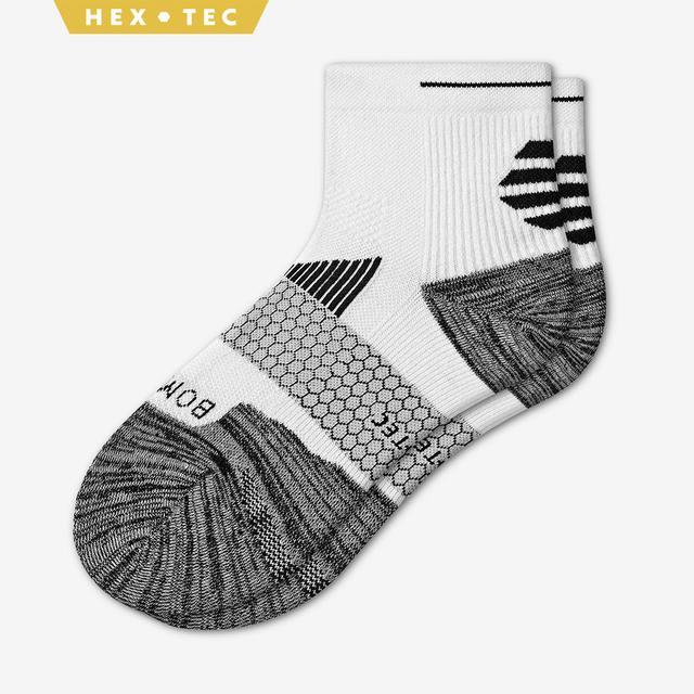 white Men's Performance Running Quarter Sock