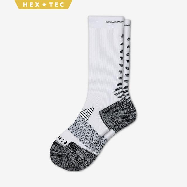 white Men's Performance Running Calf Sock
