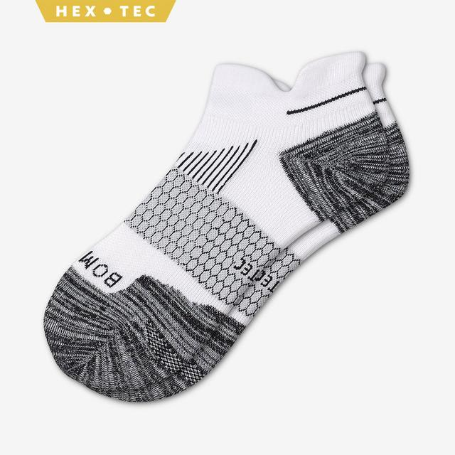 white Men's Performance Running Ankle Sock