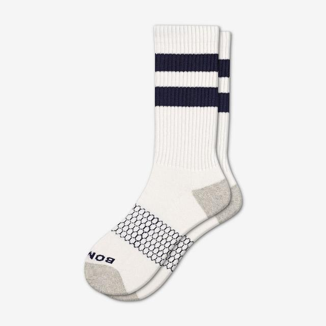 white-navy Men's Vintage Stripe Calf Socks