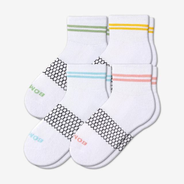 white-stripes Women's Piqué Quarters 4-Pack