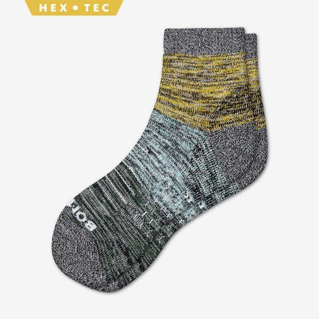 yellow-sky-blue-green Men's Hiking Colorblock Quarter Socks